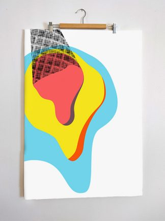 Layered ice cream screen print poster, by Zé Monteiro